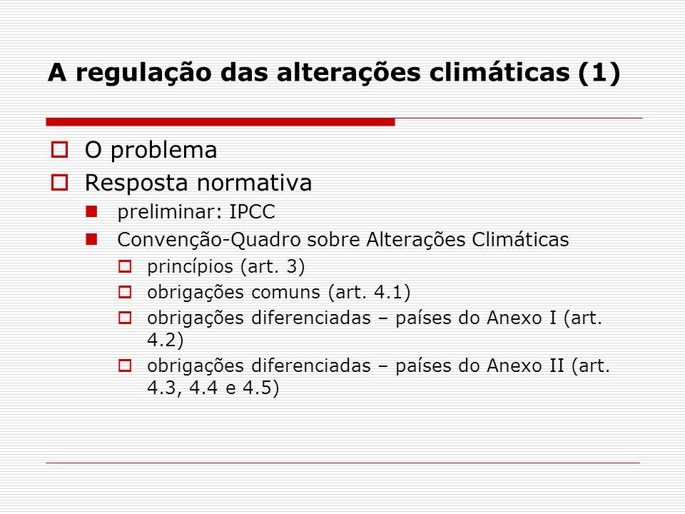 A regulação das alterações climáticas (1) O problema Resposta normativa preliminar: IPCC Convenção-Quadro sobre Alterações Climáticas princípios (art.