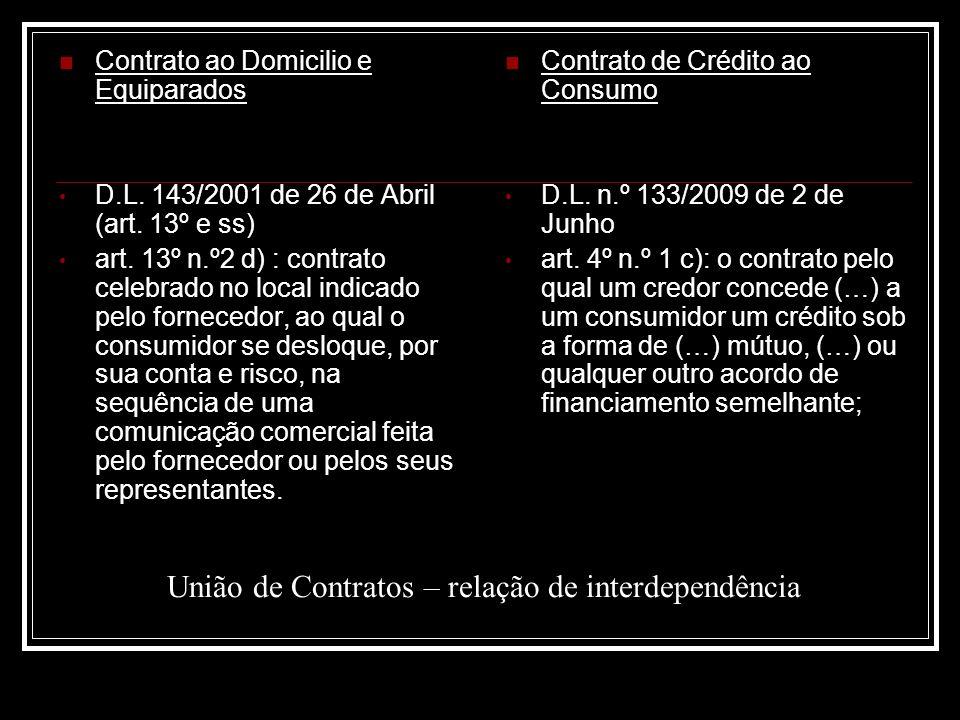 União de Contratos – relação de interdependência Contrato ao Domicilio e Equiparados D.L. 143/2001 de 26 de Abril (art. 13º e ss) art. 13º n.º2 d) : c