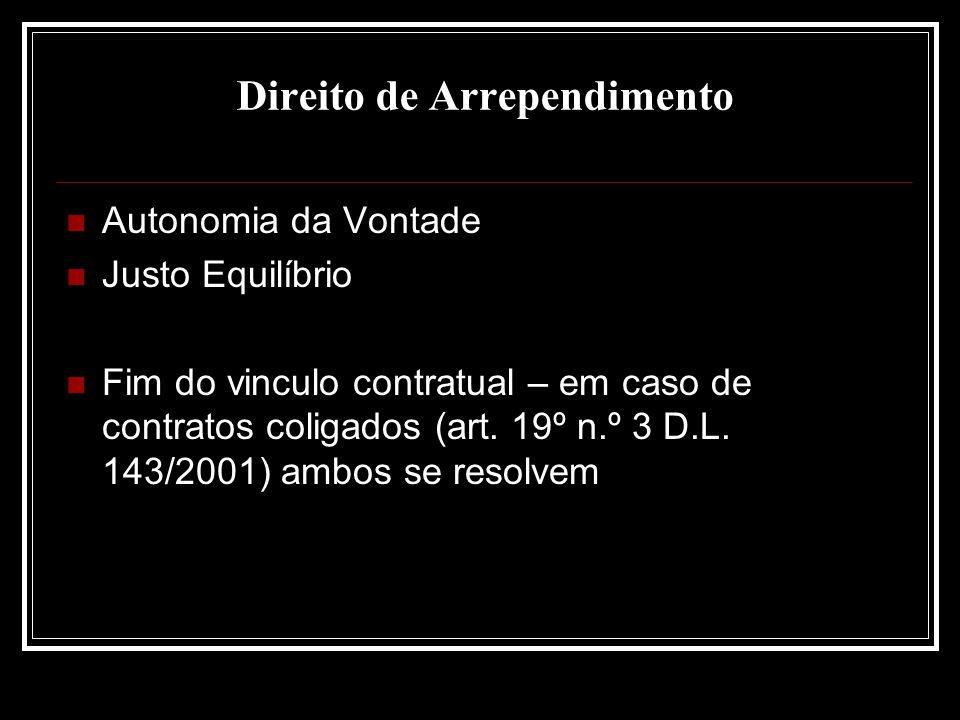 Direito de Arrependimento Autonomia da Vontade Justo Equilíbrio Fim do vinculo contratual – em caso de contratos coligados (art. 19º n.º 3 D.L. 143/20