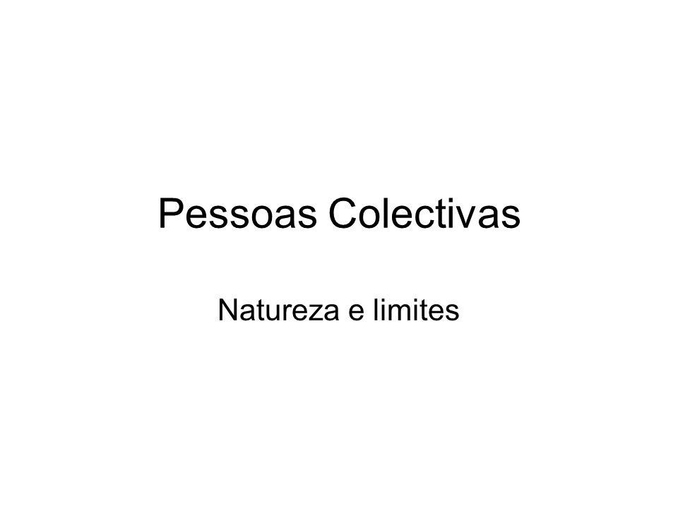 Capacidade das pessoas colectivas Recordar conceitos: personalidade jurídica, capacidade de gozo e capacidade de exercício O art.