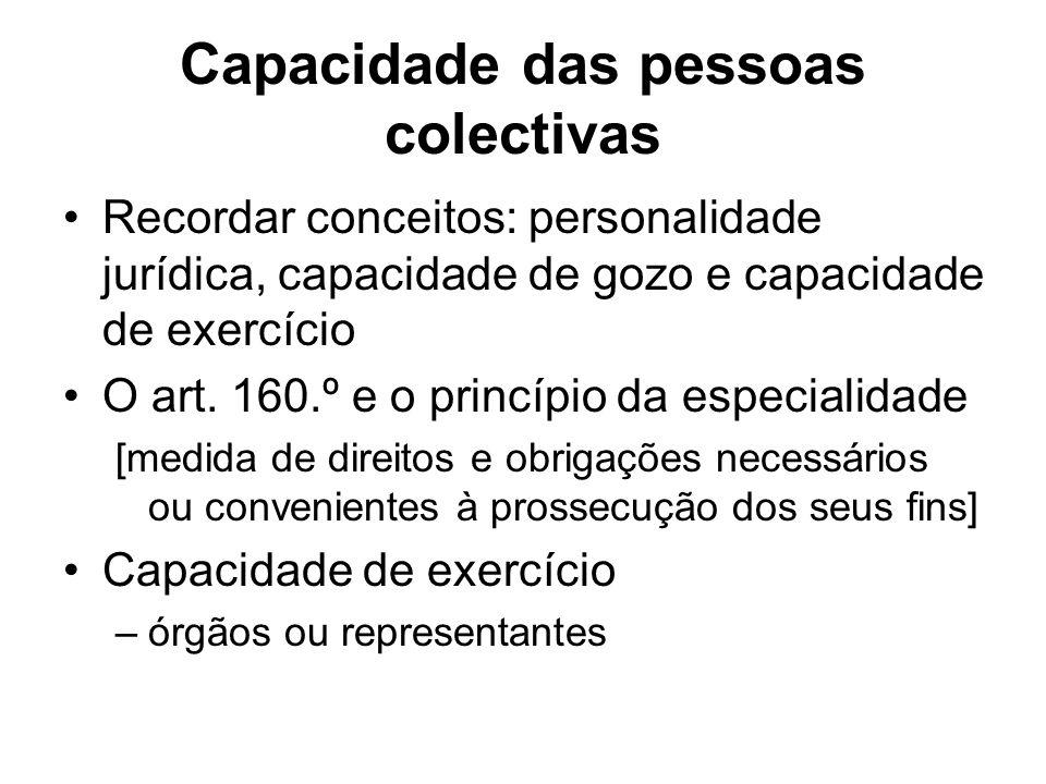 Capacidade das pessoas colectivas Recordar conceitos: personalidade jurídica, capacidade de gozo e capacidade de exercício O art. 160.º e o princípio