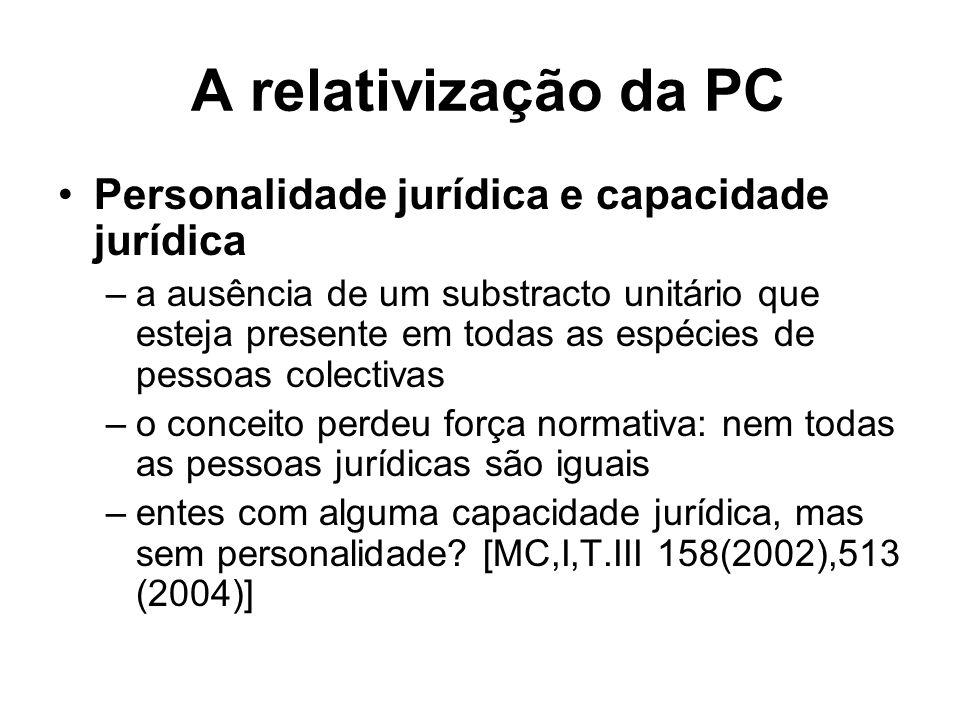 A relativização da PC Personalidade jurídica e capacidade jurídica –a ausência de um substracto unitário que esteja presente em todas as espécies de p