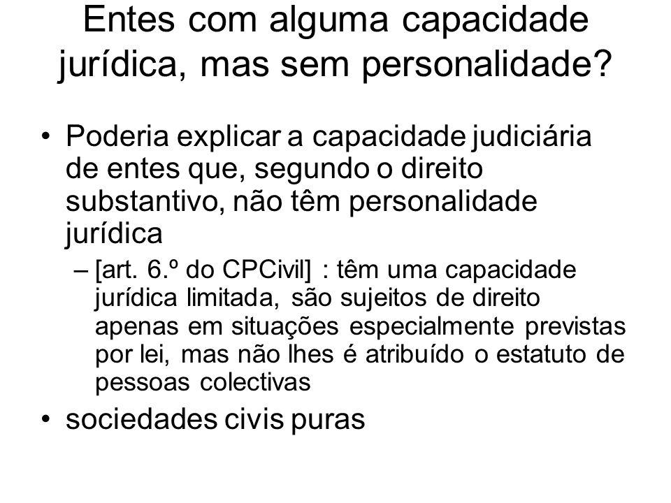 Doutrina portuguesa Paulo Cunha –Pessoas rudimentais [v.M.C.,III(2004), p.521 ss.] Manuel de Andrade –Personalidade limitada ou fraccionária [I, p.