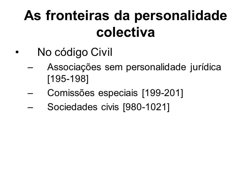 As fronteiras da personalidade colectiva No código Civil –Associações sem personalidade jurídica [195-198] –Comissões especiais [199-201] –Sociedades