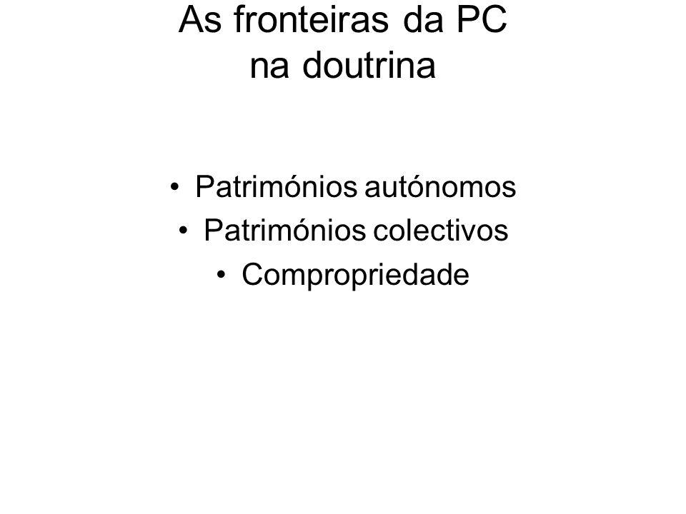 As fronteiras da PC na doutrina Patrimónios autónomos Patrimónios colectivos Compropriedade