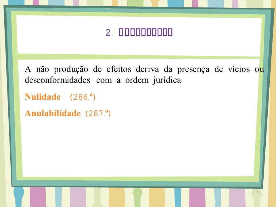 5 2. Invalidade A não produção de efeitos deriva da presença de vícios ou desconformidades com a ordem jurídica Nulidade (286. º ) Anulabilidade (287.
