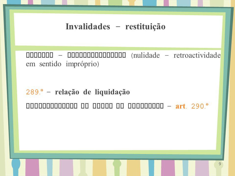 Invalidades – restituição Efeitos – retroactividade ( nulidade – retroactividade em sentido impróprio ) 289. º - relação de liquidação Reciprocidade d