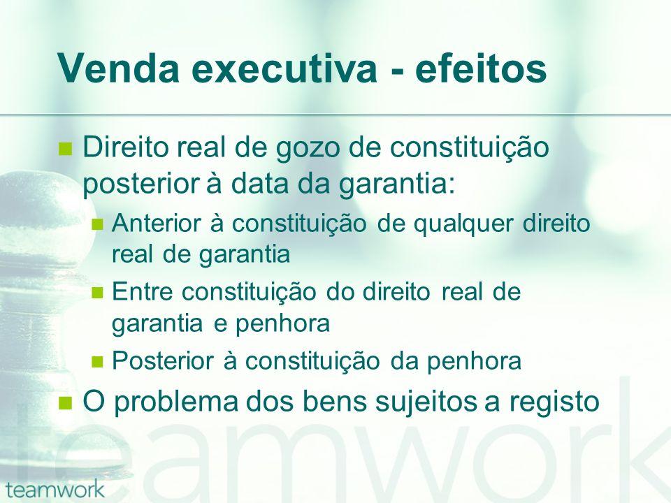 Venda executiva - efeitos Direito real de gozo de constituição posterior à data da garantia: Anterior à constituição de qualquer direito real de garan