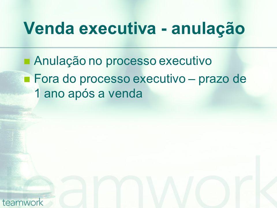Venda executiva - anulação Anulação no processo executivo Fora do processo executivo – prazo de 1 ano após a venda