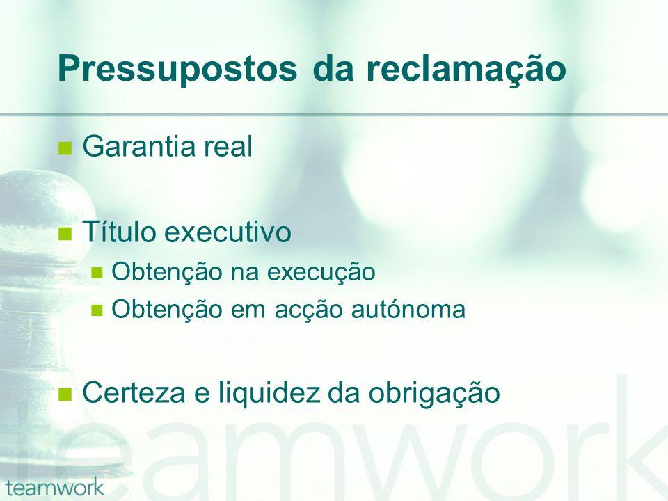Pressupostos da reclamação Garantia real Título executivo Obtenção na execução Obtenção em acção autónoma Certeza e liquidez da obrigação