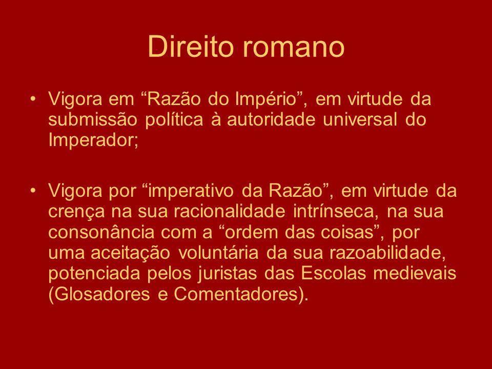 Direito romano Vigora em Razão do Império, em virtude da submissão política à autoridade universal do Imperador; Vigora por imperativo da Razão, em vi