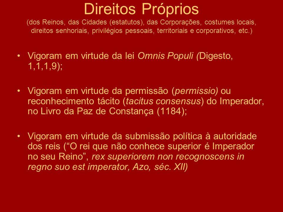 Direitos Próprios (dos Reinos, das Cidades (estatutos), das Corporações, costumes locais, direitos senhoriais, privilégios pessoais, territoriais e co