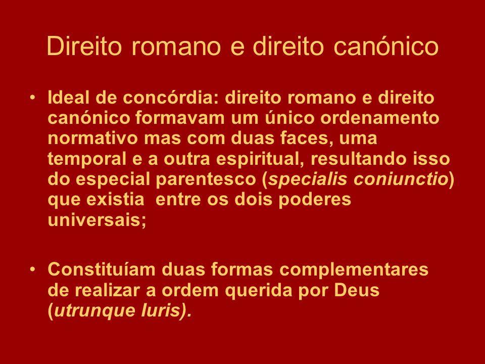 Direito romano e direito canónico Ideal de concórdia: direito romano e direito canónico formavam um único ordenamento normativo mas com duas faces, um