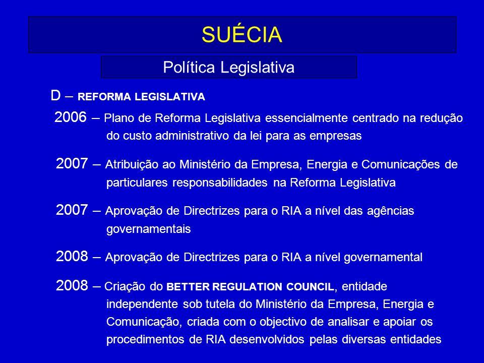 SUÉCIA D – REFORMA LEGISLATIVA 2006 – Plano de Reforma Legislativa essencialmente centrado na redução do custo administrativo da lei para as empresas