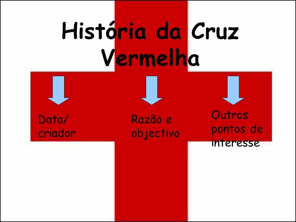 História da Cruz Vermelha Data/ criador Razão e objectivo Outros pontos de interesse