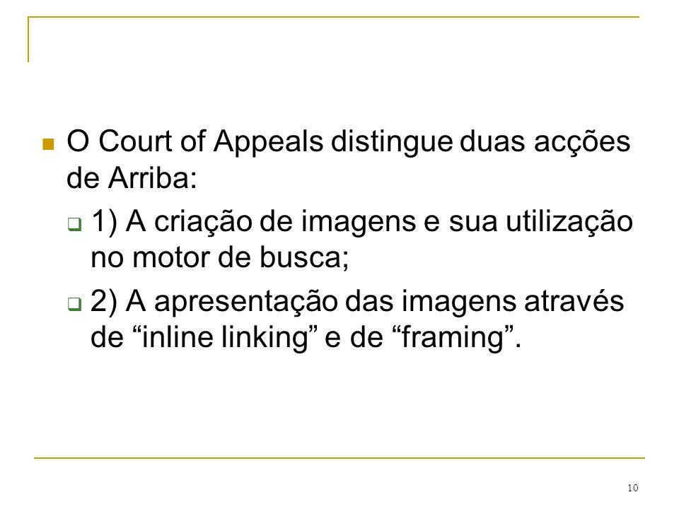 10 O Court of Appeals distingue duas acções de Arriba: 1) A criação de imagens e sua utilização no motor de busca; 2) A apresentação das imagens atrav