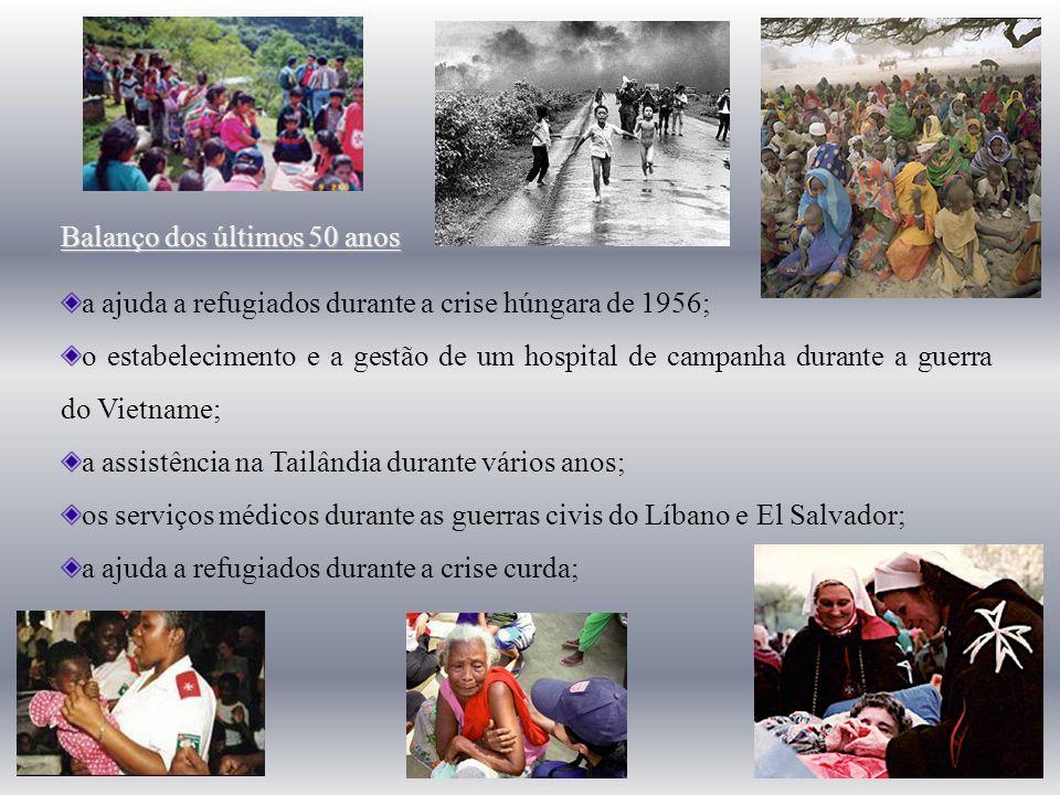 Balanço dos últimos 50 anos a ajuda a refugiados durante a crise húngara de 1956; o estabelecimento e a gestão de um hospital de campanha durante a gu