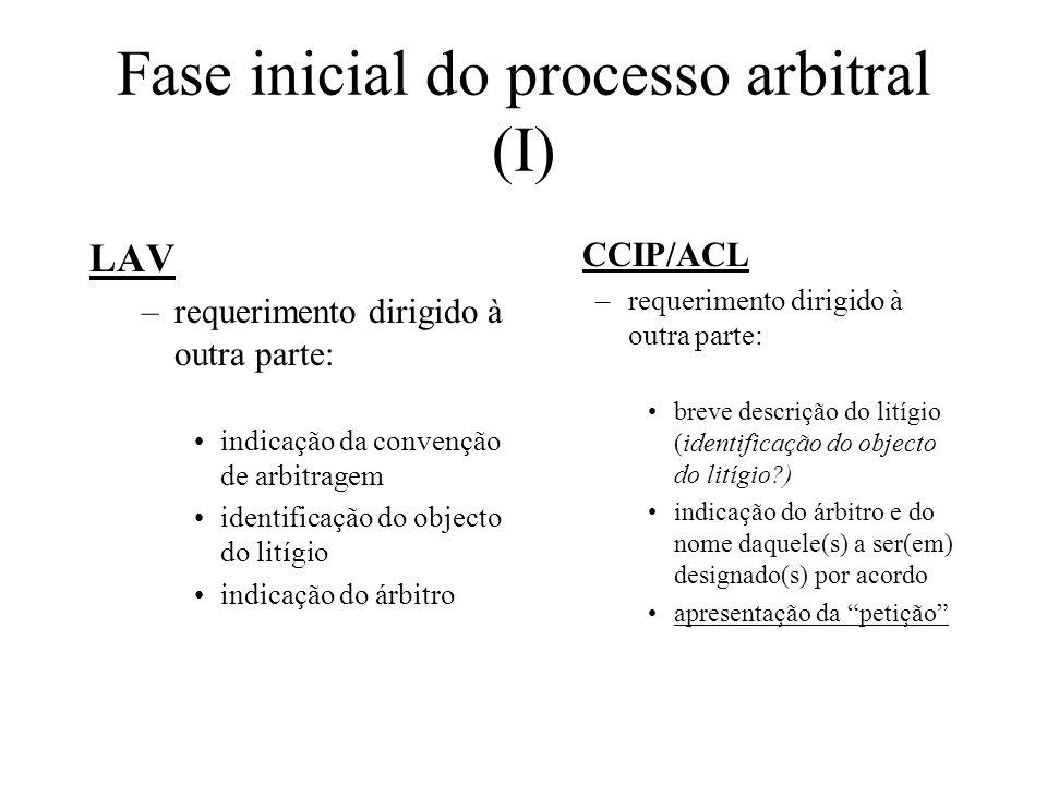 Fase inicial do processo arbitral (I) LAV –requerimento dirigido à outra parte: indicação da convenção de arbitragem identificação do objecto do litíg