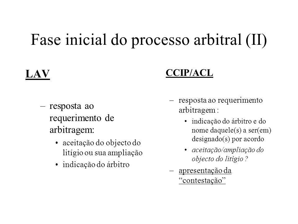 Fase inicial do processo arbitral (II) LAV –resposta ao requerimento de arbitragem: aceitação do objecto do litígio ou sua ampliação indicação do árbi