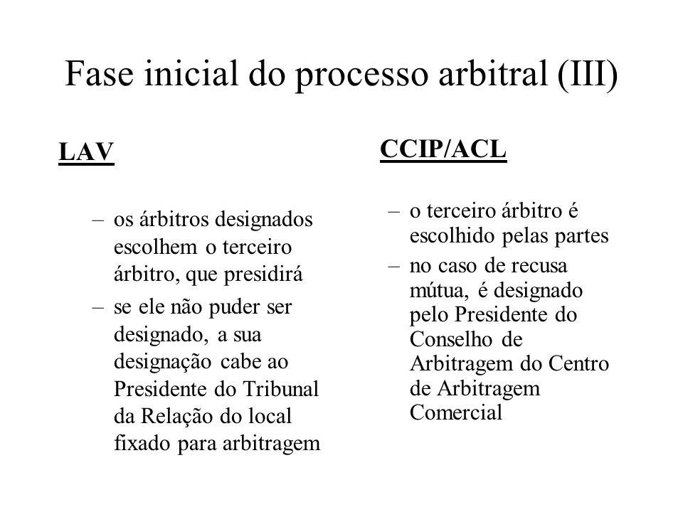 Fase inicial do processo arbitral (IV) LAV –só perante o tribunal arbitral já constituído podem as partes apresentar os seus articulados (dois ou quatro) –tribunal arbitral regula, no início do processo, o modo e prazo de apresentação das peças, o modo como se fará a condensação do processo e a produção de prova, o calendário de audiências, a forma das alegações (art.