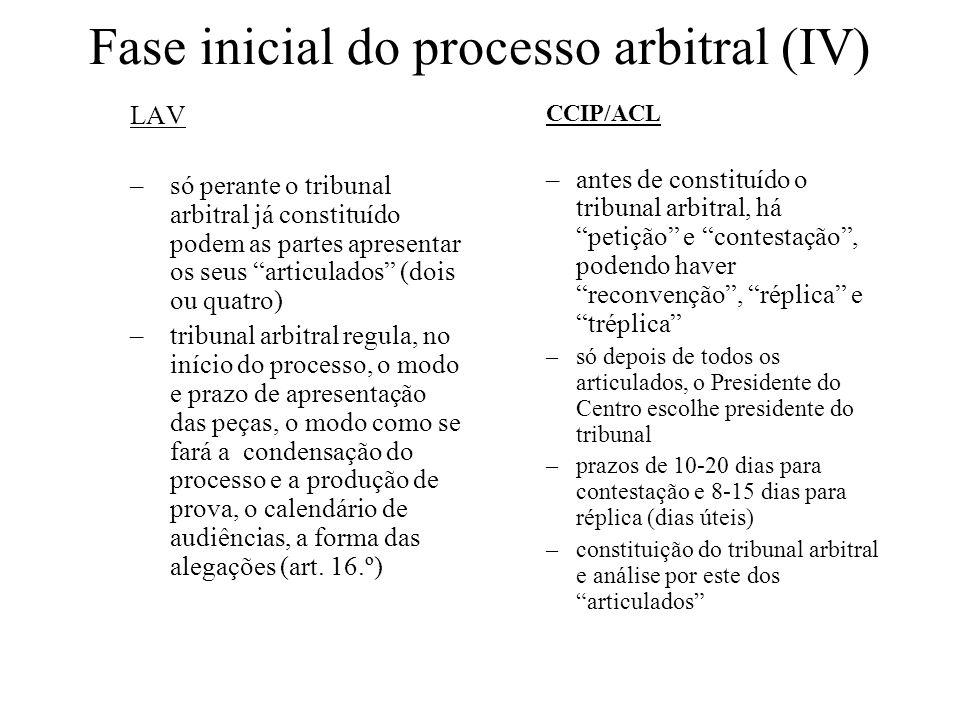 Saneamento / Condensação LAV –Findos os articulados, o tribunal arbitral conhece das excepções sobre as quais puder decidir, nomeadamente da sua competência –Como se disse acima, o tribunal arbitral terá regulado, no início do processo, o modo como se fará a condensação deste (identificação das questões litigiosas ou base instrutória sumária) CCIP/ACL –Tentativa de conciliação; o tribunal arbitral conhece das as excepções sobre as quais puder decidir, nomeadamente da sua competência, e regula (só nesta fase do processo) o modo como se fará a condensação processual (identificação das questões litigiosas ou base instrutória sumária)
