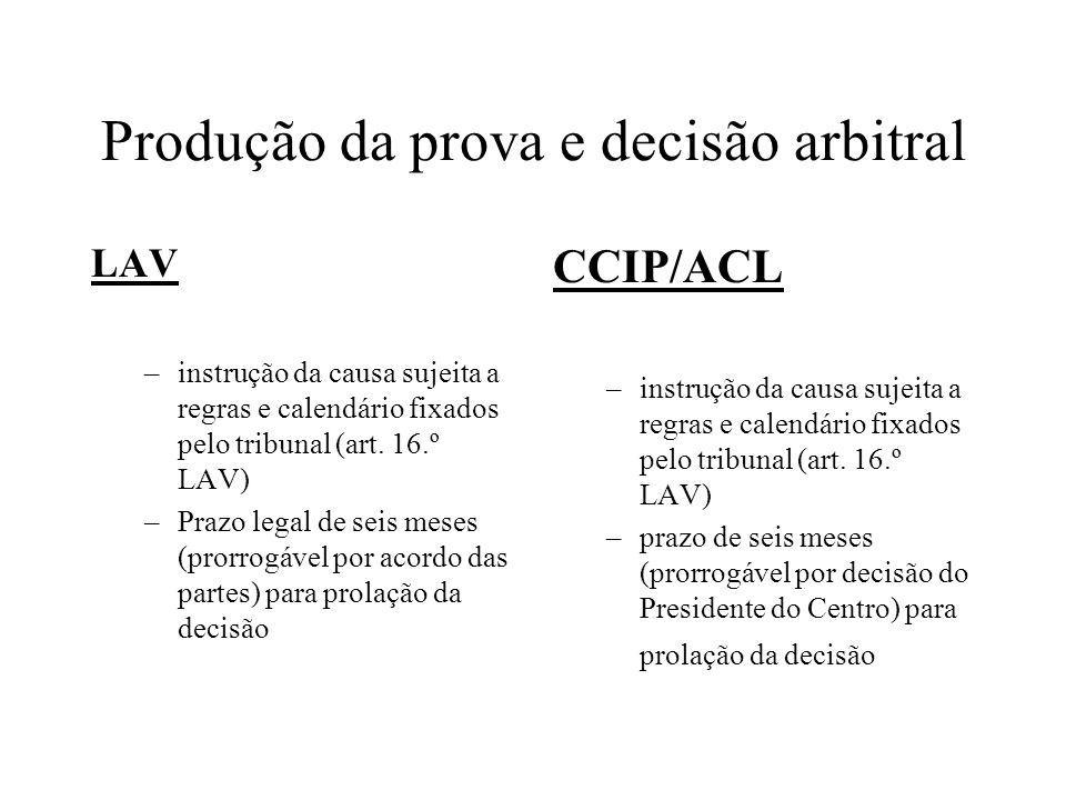 Produção da prova e decisão arbitral LAV –instrução da causa sujeita a regras e calendário fixados pelo tribunal (art. 16.º LAV) –Prazo legal de seis