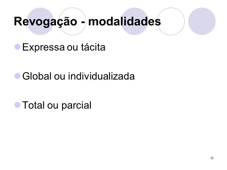 10 Revogação - modalidades Expressa ou tácita Global ou individualizada Total ou parcial