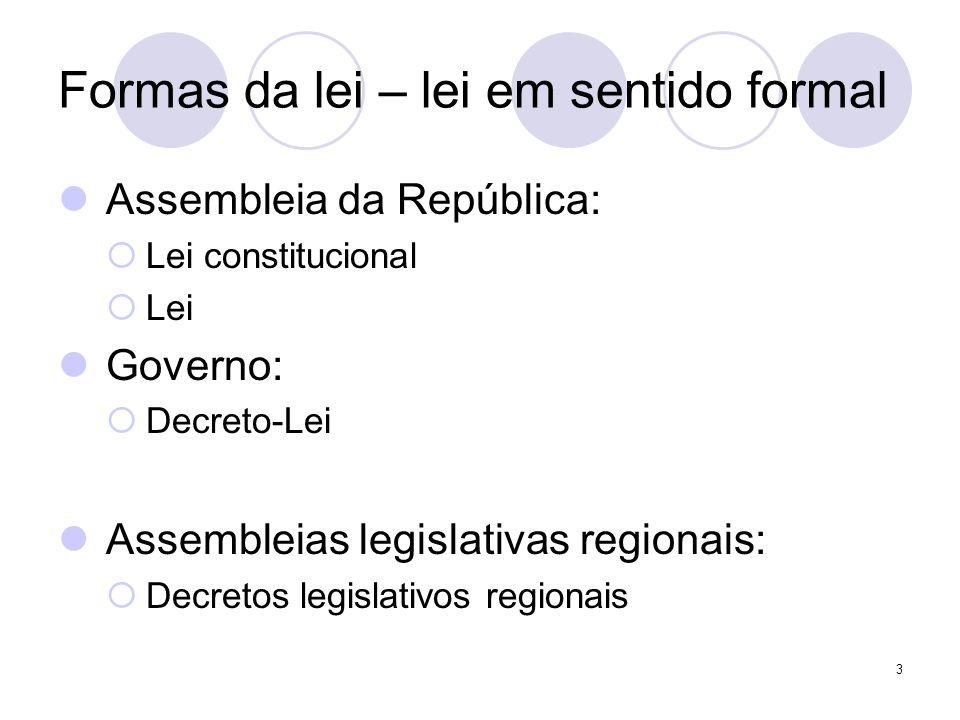 3 Formas da lei – lei em sentido formal Assembleia da República: Lei constitucional Lei Governo: Decreto-Lei Assembleias legislativas regionais: Decre