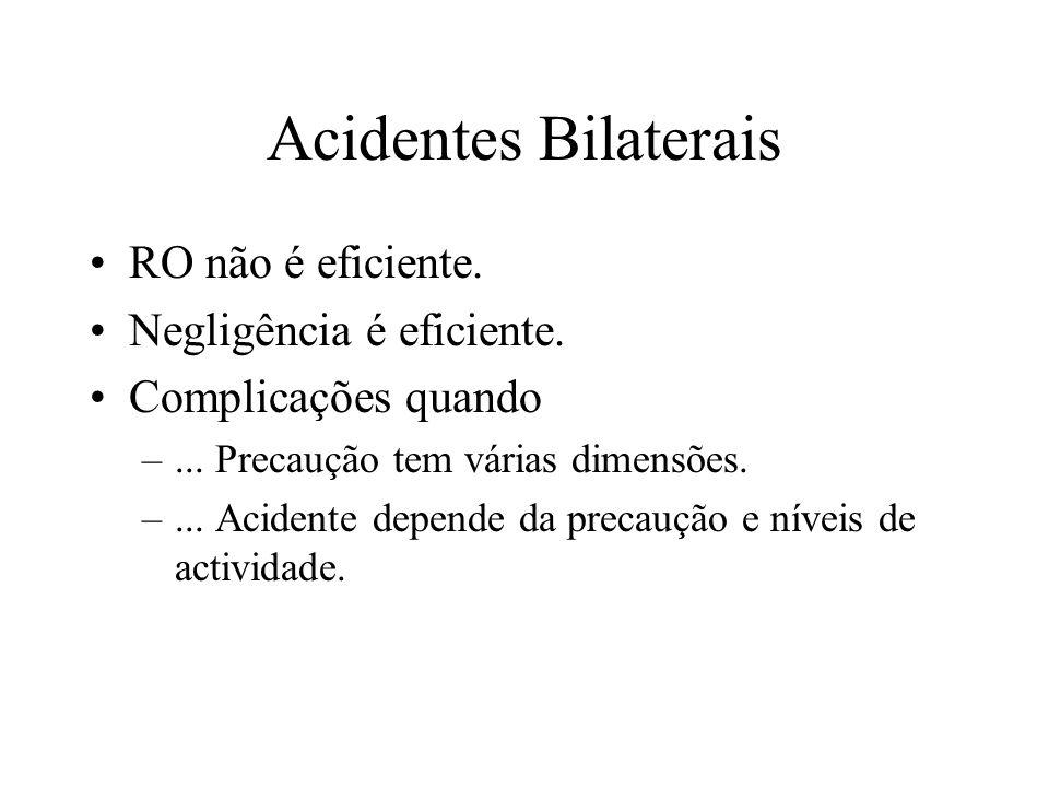 Acidentes Bilaterais RO não é eficiente. Negligência é eficiente. Complicações quando –... Precaução tem várias dimensões. –... Acidente depende da pr