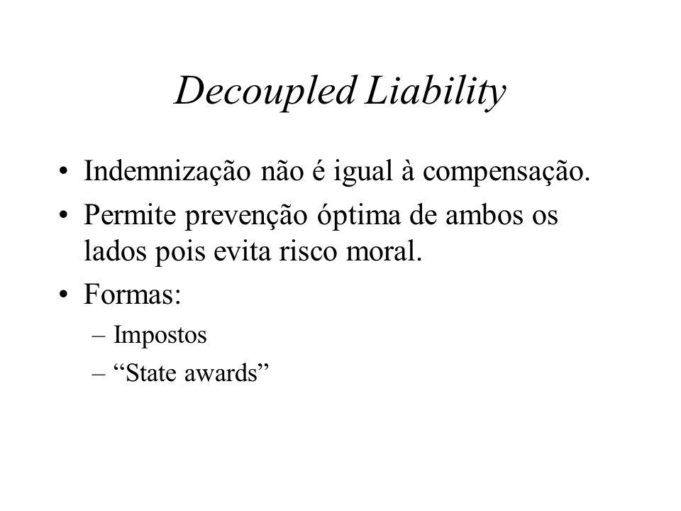 Decoupled Liability Indemnização não é igual à compensação. Permite prevenção óptima de ambos os lados pois evita risco moral. Formas: –Impostos –Stat