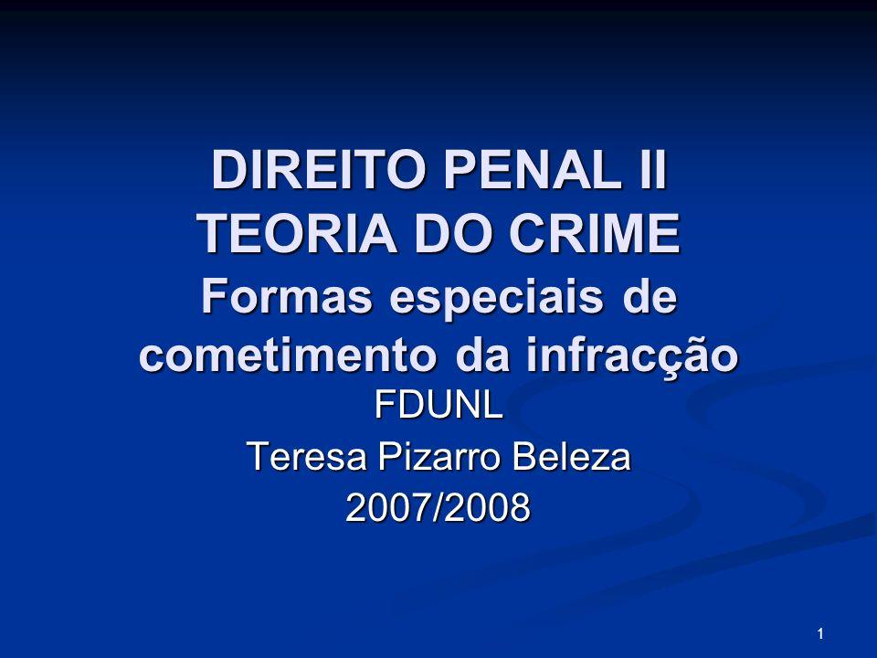 1 DIREITO PENAL II TEORIA DO CRIME Formas especiais de cometimento da infracção FDUNL Teresa Pizarro Beleza 2007/2008
