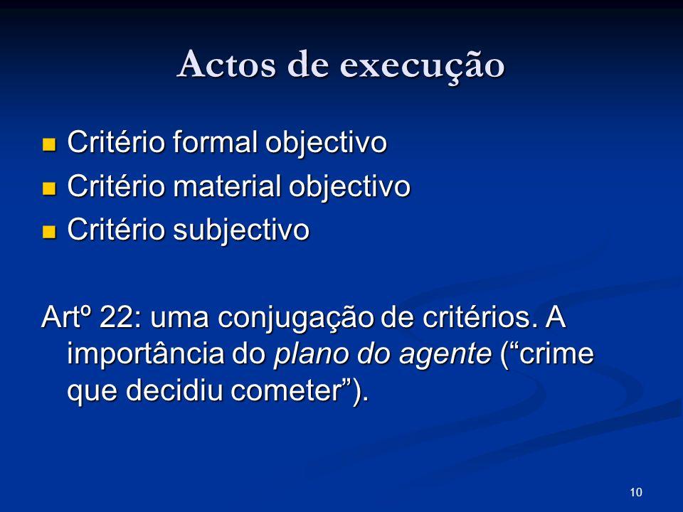10 Actos de execução Critério formal objectivo Critério formal objectivo Critério material objectivo Critério material objectivo Critério subjectivo C