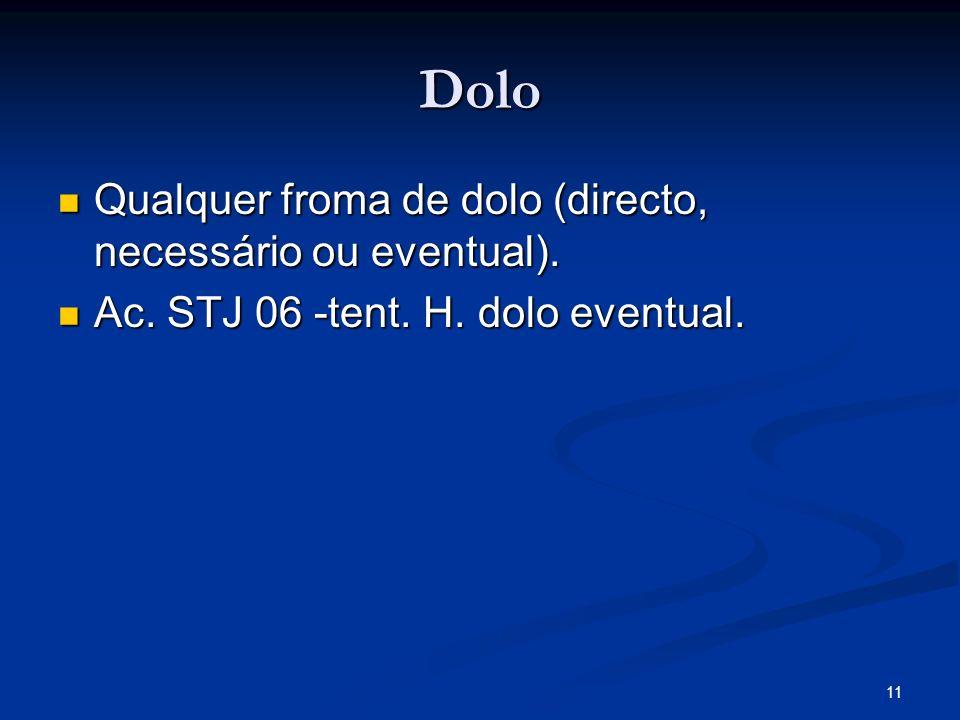 11 Dolo Qualquer froma de dolo (directo, necessário ou eventual). Qualquer froma de dolo (directo, necessário ou eventual). Ac. STJ 06 -tent. H. dolo