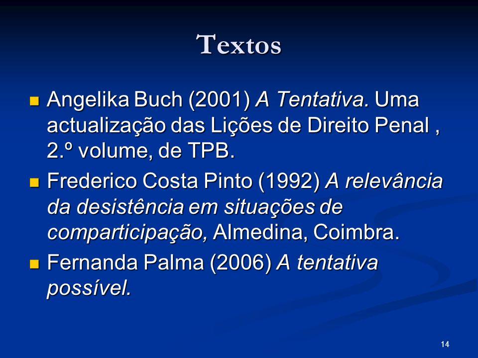 14 Textos Angelika Buch (2001) A Tentativa. Uma actualização das Lições de Direito Penal, 2.º volume, de TPB. Angelika Buch (2001) A Tentativa. Uma ac