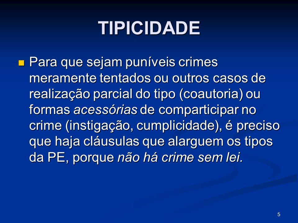 5 TIPICIDADE Para que sejam puníveis crimes meramente tentados ou outros casos de realização parcial do tipo (coautoria) ou formas acessórias de compa