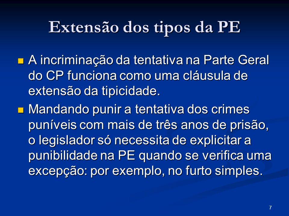 7 Extensão dos tipos da PE A incriminação da tentativa na Parte Geral do CP funciona como uma cláusula de extensão da tipicidade. A incriminação da te