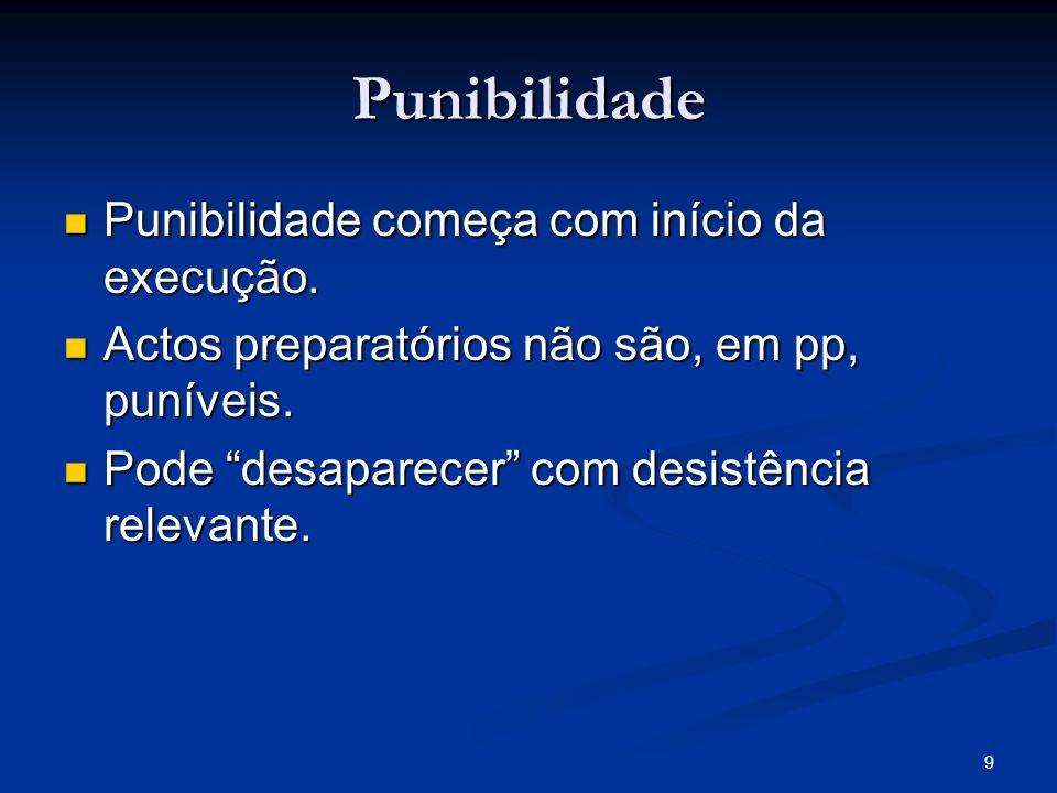 9 Punibilidade Punibilidade começa com início da execução. Punibilidade começa com início da execução. Actos preparatórios não são, em pp, puníveis. A