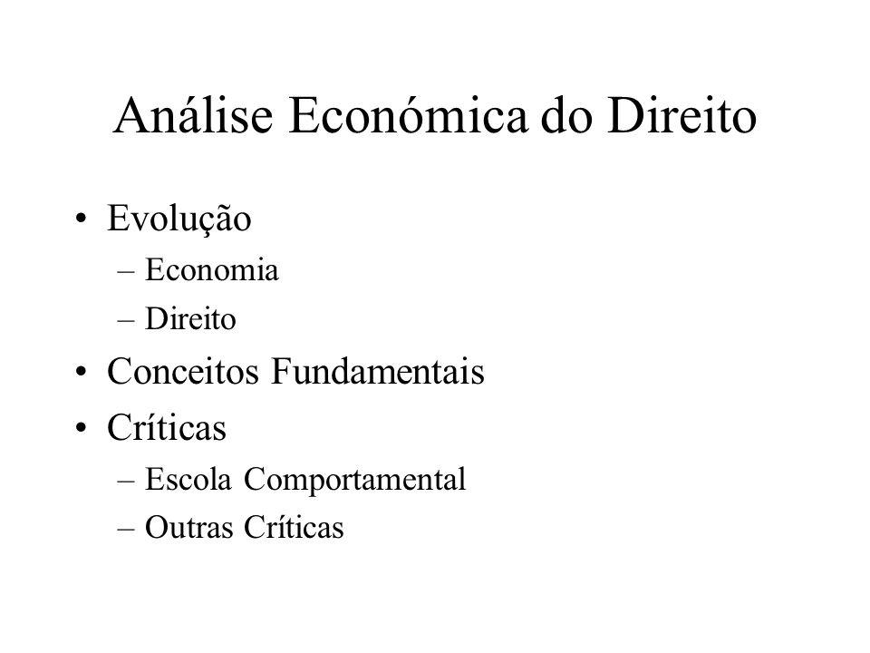 Análise Económica do Direito Evolução –Economia –Direito Conceitos Fundamentais Críticas –Escola Comportamental –Outras Críticas