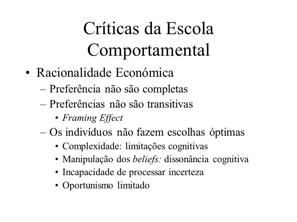 Críticas da Escola Comportamental Racionalidade Económica –Preferência não são completas –Preferências não são transitivas Framing Effect –Os indivídu