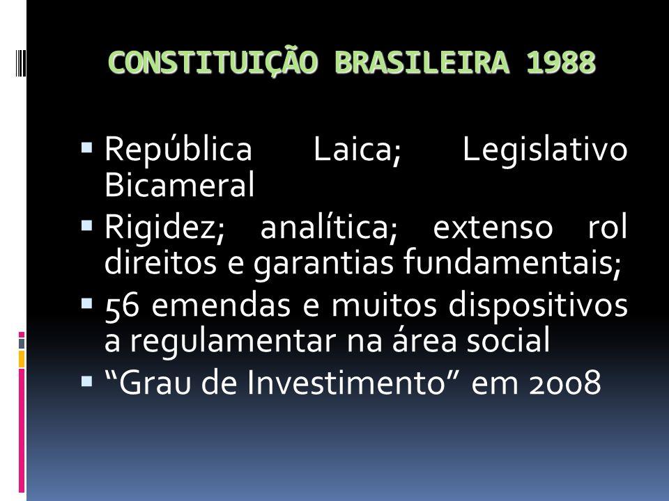 CONSTITUIÇÃO BRASILEIRA 1988 República Laica; Legislativo Bicameral Rigidez; analítica; extenso rol direitos e garantias fundamentais; 56 emendas e mu