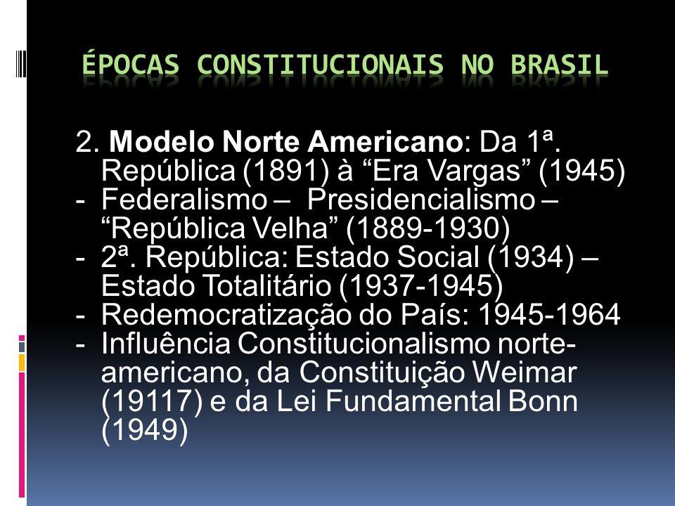 2. Modelo Norte Americano: Da 1ª. República (1891) à Era Vargas (1945) -Federalismo – Presidencialismo – República Velha (1889-1930) -2ª. República: E