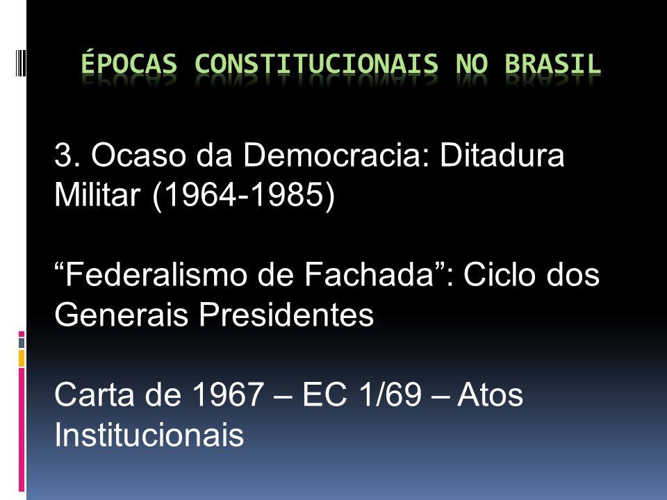 3. Ocaso da Democracia: Ditadura Militar (1964-1985) Federalismo de Fachada: Ciclo dos Generais Presidentes Carta de 1967 – EC 1/69 – Atos Institucion