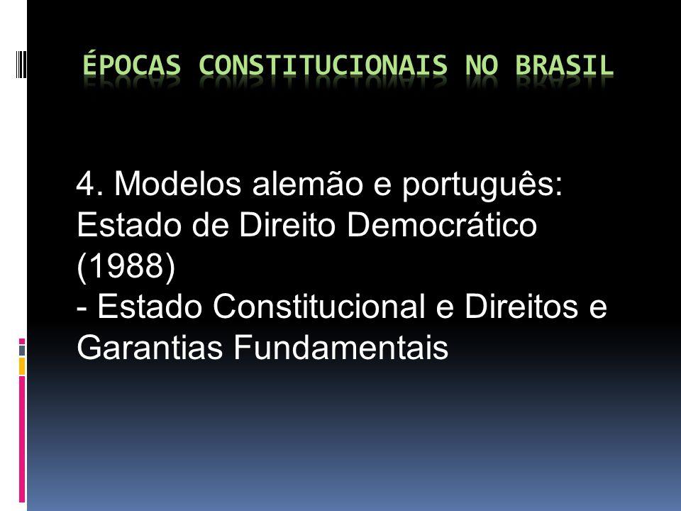 4. Modelos alemão e português: Estado de Direito Democrático (1988) - Estado Constitucional e Direitos e Garantias Fundamentais