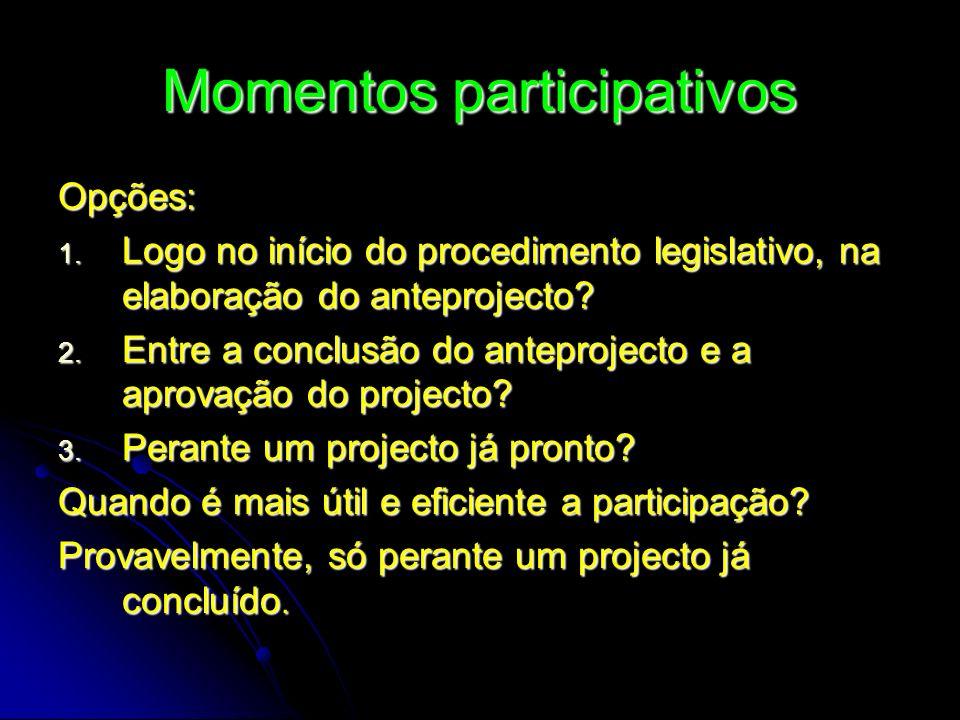 Momentos participativos Opções: 1. Logo no início do procedimento legislativo, na elaboração do anteprojecto? 2. Entre a conclusão do anteprojecto e a