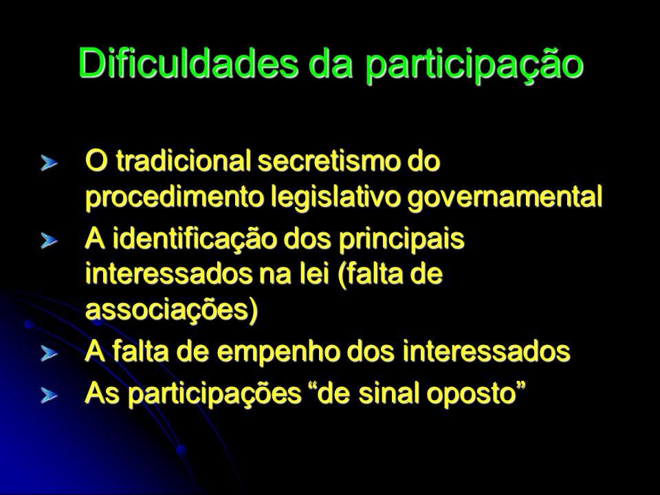 Dificuldades da participação O tradicional secretismo do procedimento legislativo governamental A identificação dos principais interessados na lei (fa
