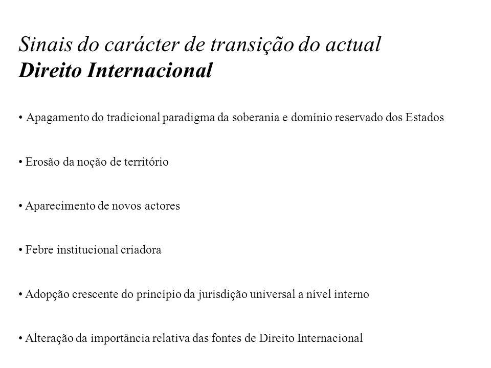 Sinais do carácter de transição do actual Direito Internacional Apagamento do tradicional paradigma da soberania e domínio reservado dos Estados Erosã