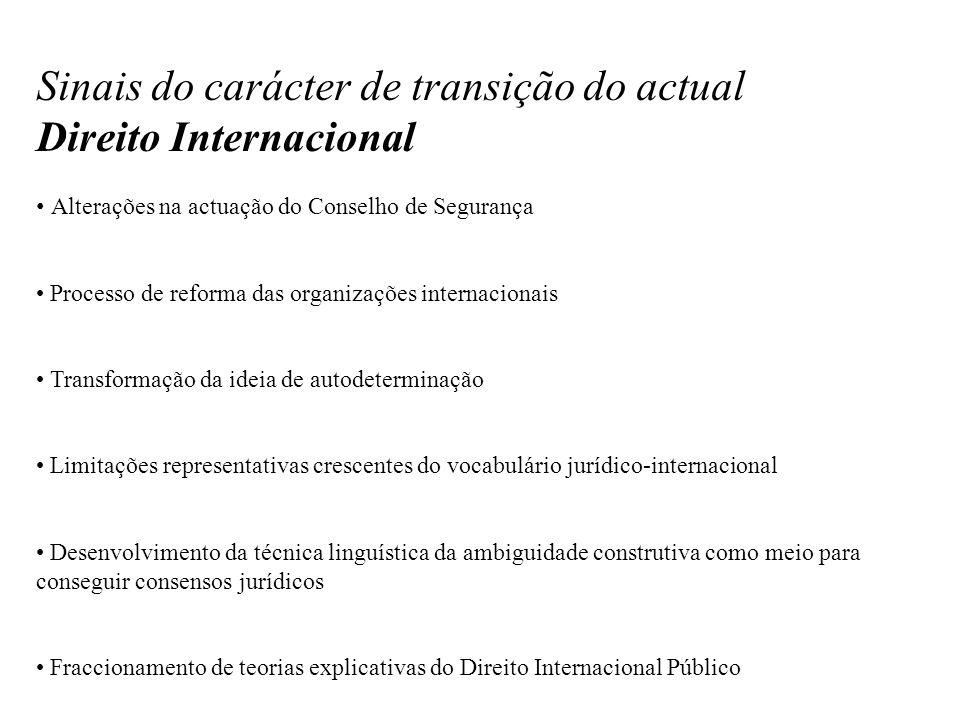 Sinais do carácter de transição do actual Direito Internacional Alterações na actuação do Conselho de Segurança Processo de reforma das organizações i