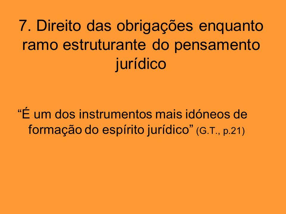 7. Direito das obrigações enquanto ramo estruturante do pensamento jurídico É um dos instrumentos mais idóneos de formação do espírito jurídico (G.T.,