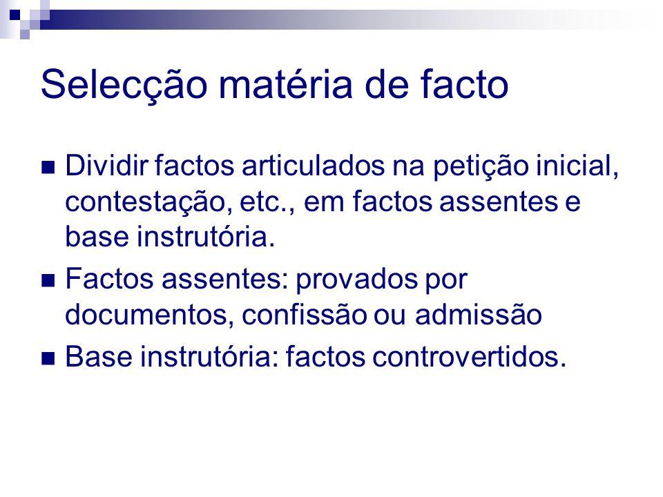 Selecção matéria de facto Dividir factos articulados na petição inicial, contestação, etc., em factos assentes e base instrutória. Factos assentes: pr