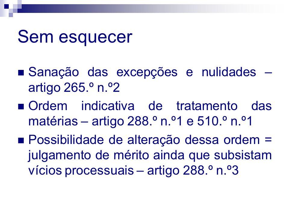 Sem esquecer Sanação das excepções e nulidades – artigo 265.º n.º2 Ordem indicativa de tratamento das matérias – artigo 288.º n.º1 e 510.º n.º1 Possib